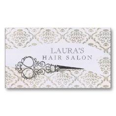salon buisness card images | Vintage Wallpaper Scissors Hair Salon Business Business Cards