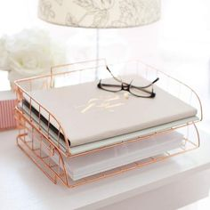 Blu Monaco Rose Gold Desk Organizer Stackable Paper Tray Set of 2 - Metal Wire Two Tier Tray - Stackable Letter Tray - Inbox Tray for Desk 2 Piece Rose Gold Stackable File Trays This two tier, two piece rose gold organizer set is perfect Rose Gold Room Decor, Rose Gold Rooms, Cute Room Decor, Teen Room Decor, Room Ideas Bedroom, Bedroom Decor, Bedroom Sets, Uni Room, Gold Bedroom
