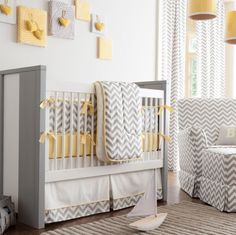 Inspiração - quarto bebê amarelo e cinza