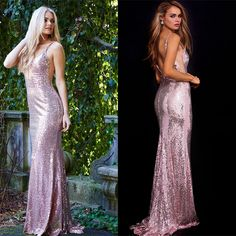 DRESS OF THE WEEK  Sparkles galore! This light pink full-length gown has a deep v-neck that'll have you looking glamorous on your prom night.  Boutique: L&H Bridal Designer: Jovani Style #: 60341