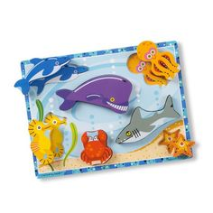 Sea Creatures Puzzle | 7 Piece Puzzle Toddler Toys, Kids Toys, Educational Christmas Gifts, Melissa & Doug, Craft Projects For Kids, Family Game Night, Wooden Puzzles, Imaginative Play, Stuffed Toys Patterns