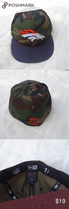 NWT Denver Broncos Fitter Hat Brand new with tags Denver Broncos fitted hat, camo top with blue bill in size 7 1/8 New Era Accessories Hats