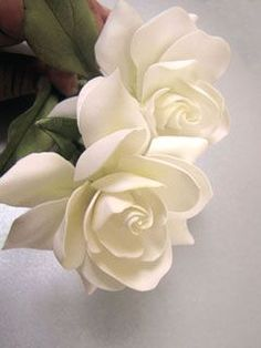 Flowers Drawings Inspiration : gardenia made of gum paste by Giovanna Smith Sugar Paste Flowers, Icing Flowers, Fondant Flowers, Clay Flowers, Edible Flowers, Paper Flowers, Fondant Bow, Fondant Tutorial, Fondant Cakes