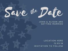 A simple Save The Date Wedding Invitation with a dark blue background, star illustrations, and white text. Star Illustration, Illustrations, Dark Blue Background, Special Day, Save The Date, Getting Married, Wedding Invitations, Dating, Social Media