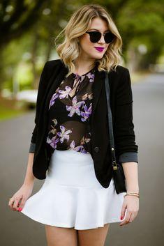 Look do dia: saia branca + blazer preto — Niina Secrets