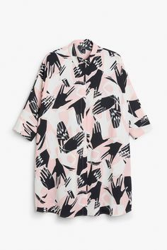 Monki Image 1 of Shirt dress in Pink Yellowish Light