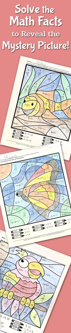 Kids love solving math mystery pictures from #superteacherworksheets! While they have fun solving each math fact and coloring in the corresponding segment of the picture, teachers  will be delighted to give their young learners a little extra #mathskills practice. Eventually, once all the segments are colored in, the hidden picture is revealed. Choose from #addition, #subtraction, #multiplication, or #division activities. Browse our complete collection today!