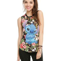 Disney Lilo & Stitch Floral Girls Muscle Top ($17) ❤ liked on Polyvore featuring tops, sleeveless tops, floral sleeveless top, flower print tank top, disney tank top and disney tanks