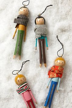 Chalet Lounger Ornament - anthropologie.com T;hese ornaments are $48.00. Do you realize how easy they would be to make? I have tons of those clothespins.