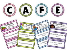 FREE CAFE Menu and Goal Cards with CCSS for Kindergarten-2nd grade: Goals for the emergent and regular CAFE menu are included. In addition each goal card includes the Common Core Standard that it addresses