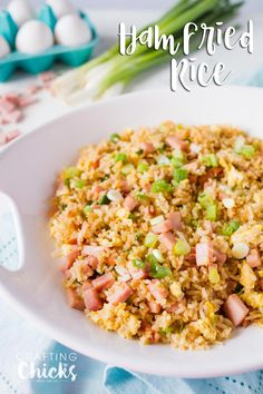 Easy Ham Fried Rice Recipe - My kids love this yummy side dish!  So quick and so easy!