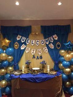Beautiful A Royal Blue And Gold Baby Shower Cake Table Decorations For A Baby Boy  Shower.