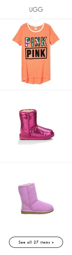 """""""UGG"""" by mosthatted-mariah ❤ liked on Polyvore featuring shirts, pink, shoes, boots, fuchsia, uggs, kid shoes, baby, classic and toddler's"""