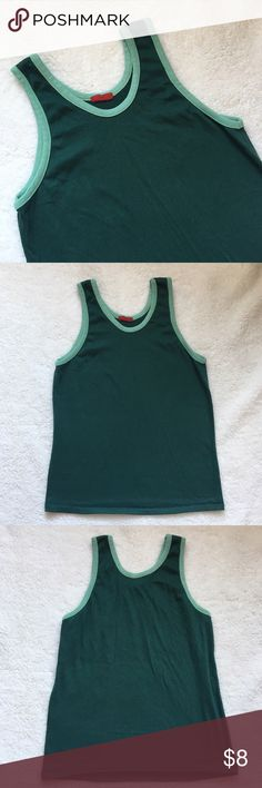 Vintage Style Green Athletic Inspired Tank *Listed AA for exposure* Dark green tank with light green lining. No rips, stains, or tears. Reminds me of something you'd see at American Apparel. American Apparel Tops Tank Tops