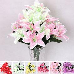 New Silk Flower Artificial Lilies Bouquet 10 Heads Home Wedding Floral Decor #Unbranded