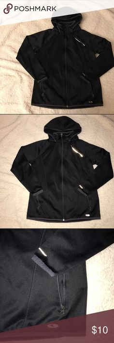 Black Athletic Jacket C9 champion brand. Size L but fits like a M. Used a couple times and definitely keeps me warm. In good condition. Black w/ reflective line and symbols. Jackets & Coats