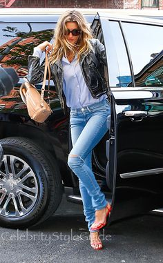 Gisele Bundchen Is Effortlessly Cool In A Vintage Leather Jacket