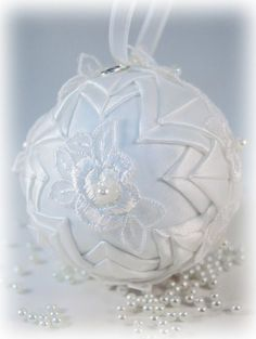 custom wedding ornament handmade with dress appliques