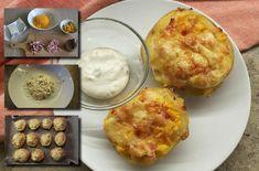 3 RECEPTY na zapekané plnené zemiaky. Chutná teplá večera z pár surovín Mashed Potatoes, Muffin, Cheese, Breakfast, Ethnic Recipes, Food, Whipped Potatoes, Morning Coffee, Smash Potatoes