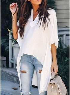 Product Name 🔥Flash Sale Elegant Chic irregular V-neck blouse SKU Gender Women Style Sexy/Fashion/Elegant Occasion Casual/Vacation/Party Material Polyester Decoration Pure Color Please Note: All dimensions are measured manually with a deviation of 1 to Mode Chic, Mode Style, Chic Chic, Looks Adidas, Look Legging, Style Feminin, Elegant Chic, Casual Elegance, Mode Hijab