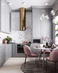 Modern Pendant Light, Pendant Lights, Grey Kitchens, Kitchen Grey, Rooms Home Decor, Room Decor, Decorating Ideas, Interior Decorating, Pink Dining Rooms
