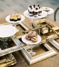 Fabulous idea using frames as part of the presentation. This would work for just about any party/color theme!
