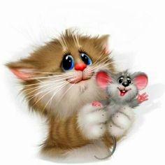 Cat Mouse, Painted Clothes, Diy Clothes, Bird, Animals, Orange, Adorable Animals, Gatos, Cat Breeds