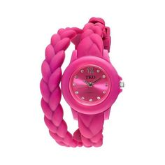 Women's TKO Braided Rubber Double Wrap Watch - Pink ($20) ❤ liked on Polyvore featuring jewelry, watches, pink, rubber jewelry, double wrap watches, pink wrist watch, pink jewelry and pink watches