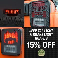 Our entire collection of Jeep taillight & brake light guards is on sale for 15% off NOW! Multiple designs available.   Start shopping now: JustForJeeps.com/jeep-brake-taillamp-guards.html  #justforjeeps #jeeps #jeeplovers #itsajeepthing #lovejeep #allthingsjeep #jeeptaillightguards #jeepbrakeguards #jeepaccessories #sale #discount