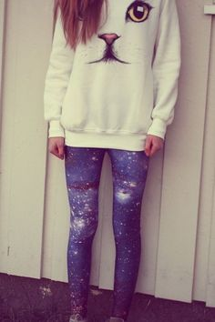 Galaxy & Cat Sweater i have finally found an outfit that explains my entire personality