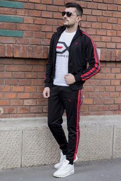 Trening EX Negru-Rosu-Verde TRX2 Track, Suits, Jackets, Men, Style, Fashion, Lab Coats, Down Jackets, Swag