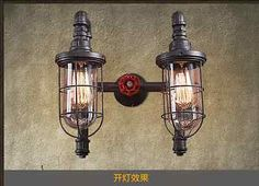 Industrial-Era-Loft-Steampunk-Double-Caged-Sconce-Antique-Rustic-Wall-Lamp-Light