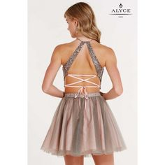 Dare to be different in this one of a kind two piece party dress from Alyce 3685. The top features a sweetheart bust line under a unique sheer lacy top featuring a scalloped bottom and high triangle neck line with thin neck strap and lace up back that takes this top off the style charts. The bottom showcases the same lacy design at the band and then flows out into a light pink bottom with grey tulle overlay to pull together the whole dress. You are sure to shine in this dress!