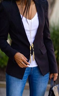 Attn Stylist: this is my style!! simple, classic- casual. i love the cut and fit of this jacket with no lapels, over a simple t-shirt with jeans, with long necklace.