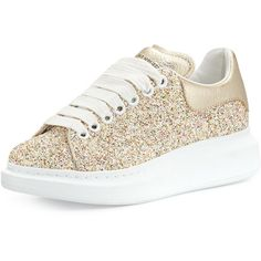 Alexander Mcqueen Glittered Low-Top Sneaker ($575) ❤ liked on Polyvore featuring shoes, sneakers, gold, shoes sneakers, leather low top sneakers, glitter sneakers, glitter flat shoes, lace up flats and laced flats