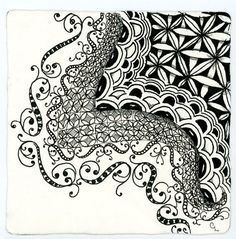 """I have also been toying around more with the 'draft' tangle I showed last week, possible to be named """"shadows."""" Here it is used as a border."""