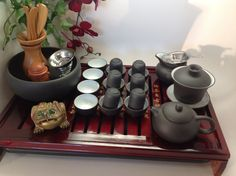 Yixing Tea Set Large Set with Red Wooden Tea Tray, serves 10