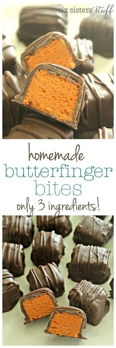 Homemade Butterfinger Bites on SixSistersStuff.com - only 3 ingredients needed!