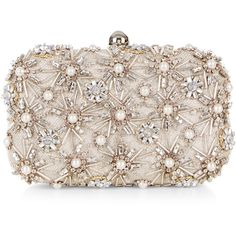 Accessorize Asha Hardcase Clutch Bag (300 PEN) ❤ liked on Polyvore featuring bags, handbags, clutches, chain strap purse, evening box clutch, evening purse, hard clutch and beaded evening handbags