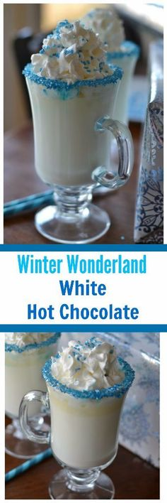 Winter Wonderland White Hot Chocolate would be a nice hot drink for Hanukkah celebrations. Christmas Party Food, Christmas Desserts, Christmas Baking, Hot Chocolate Bars, Hot Chocolate Recipes, White Chocolate, Chocolate Party, Chocolate Food, Holiday Drinks