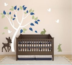 Wall Decal for Nursery with Deer, Tree, Bunnies, and Butterflies