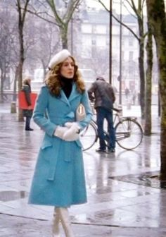 Paris. Carrie. Sex and the City. Robins Egg Blue Coat.  Anyone know what brand this gorgeous blue coat is or where to find it?
