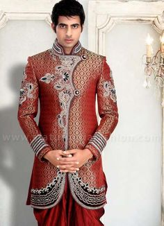 Mens wear, groom wedding dress, groom sherwani, indo western, sherwani indo western, designer sherwani, marriage sherwani, indian wedding wear, heavy sherwani www.statusindiafashion.com