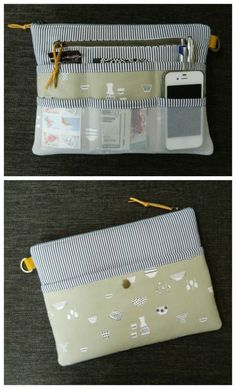 Purse organiser pattern. This is a zipper pouch that you can slip inside your main bag to keep organised. It's large enough for a tablet and keeps everything together when you switch from one bag to another. Tablet cover, purse organiser, zipper bag all in one. #BagSewingPattern #TabletCasePattern #PurseOrganiserPattern #EasySewingPattern #ZipperBagPattern
