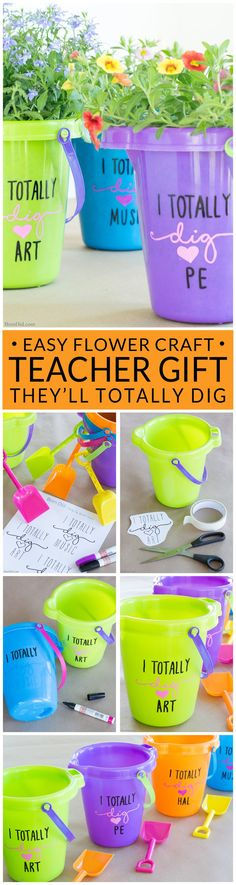 "The end of school year is approaching! Tell your teacher thank you with this easy teacher appreciation gift and free printable gift tag featuring fun ""totally dig"" sayings. Great idea for teacher appreciation week or end of year teacher gifts. DIY Teacher Gifts, Simple Teacher Appreciation Gift, Teacher Appreciation Gift Ideas."