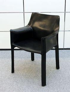 Cab Mario Bellini Kernleder-Armlehnstuhl / Cassina