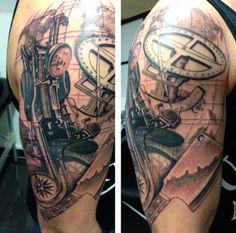 Men's Motorcycle Engine Tattoos