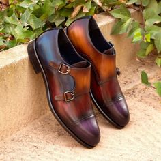 Custom Made Double Monks in Multi Color Hand Patina on Italian Raw Crust Leather with Blackwatch Wool Hot Shoes, Men's Shoes, Shoe Boots, Dress Shoes, Shoes Men, Dress Clothes, Custom Design Shoes, Custom Shoes, Shoe Designs