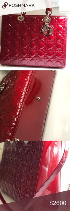 Lady Dior Large Purse Red Patent Leather Tote This Red Patent Large Lady  Dior Bag by 5947b3e220f84
