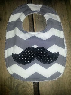 Mustache appliquéd Baby Bib Infant by HandmadebyMrsJ on Etsy